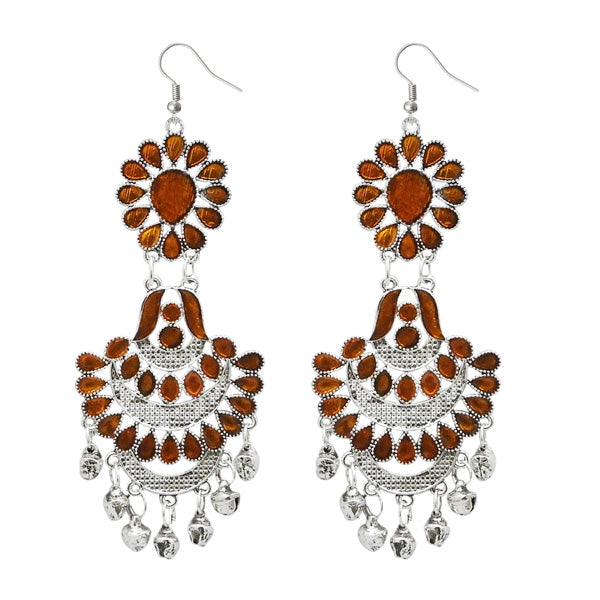 Jeweljunk Brown Meenakari Silver Plated Afghani Earrings