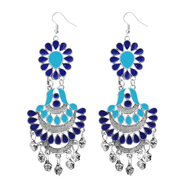 Jeweljunk Silver Plated Blue Meenakari Afghnai Earrings