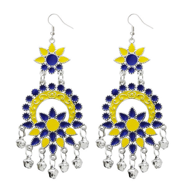 Jeweljunk Yellow Meenakari Silver Plated Afghani Earrings