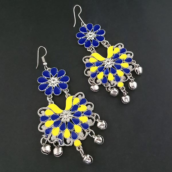 Jeweljunk Blue And Yellow Meenakari Afghani Earrings