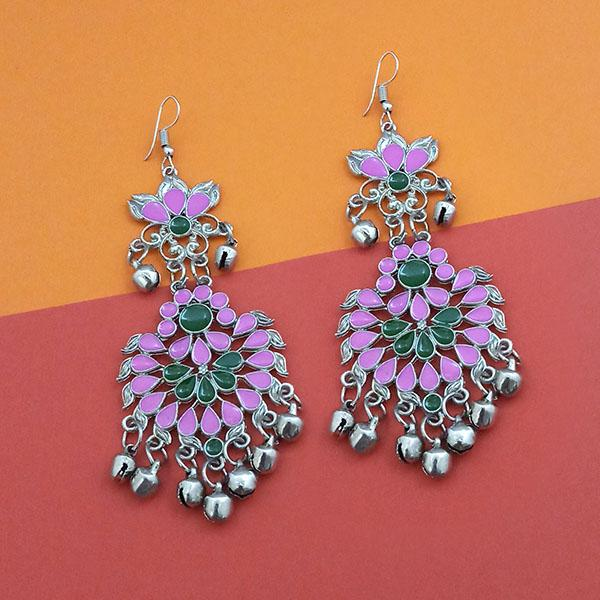 Jeweljunk Green And Purple Meenakari Afghani Earrings