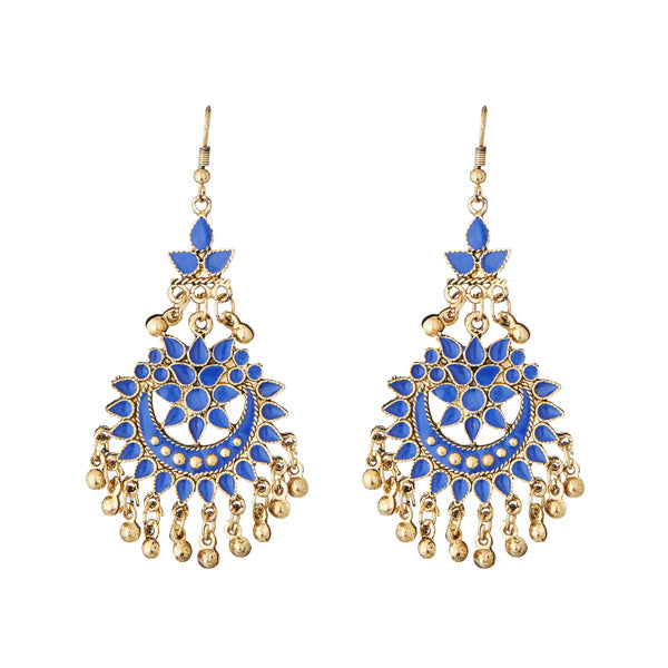 Jeweljunk Blue Meenakari Gold Plated Afghani Earrings