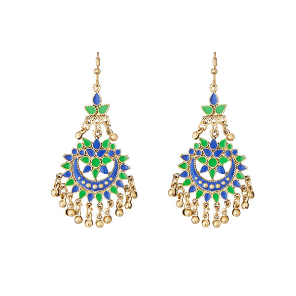 Jeweljunk Green Meenakari Gold Plated Afghani Earrings