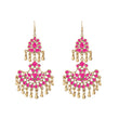 Jeweljunk Pink Meenakari Gold Plated Afghani Earrings