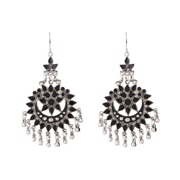 Jeweljunk Black Meenakari Silver Plated Afghani Earrings