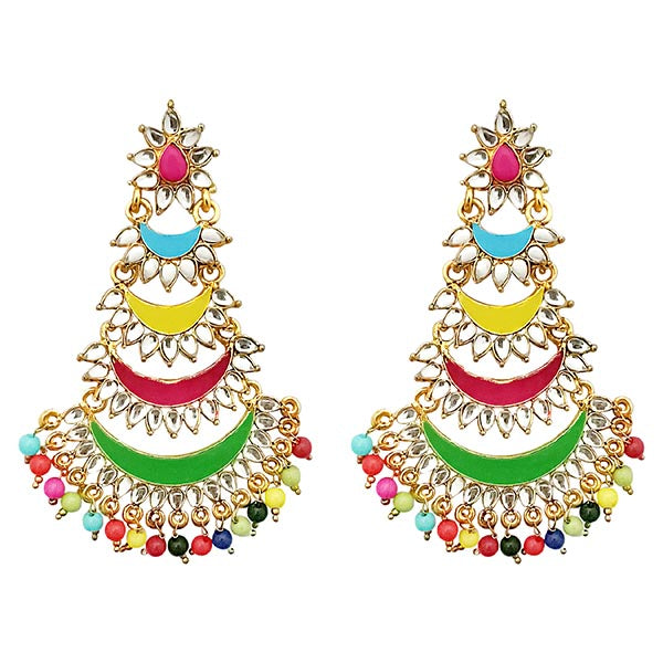 Jeweljunk Gold Plated Multi Meenakari Bead Afghani Earrings