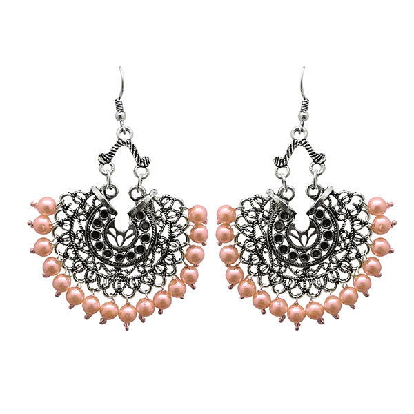 Jeweljunk Pink Beads Oxidised Plated Afghani Earrings