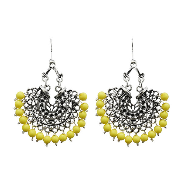 Jeweljunk Yellow Beads Rhodium Plated Afghani Earrings