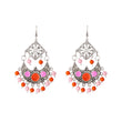 Jeweljunk Beads Rhodium Meenakari Afghani Earrings