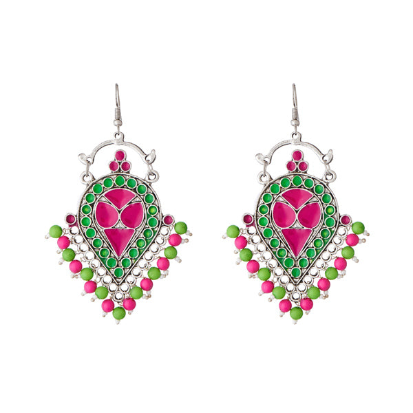 Jeweljunk Beads Rhodium Plated Meenakari Afghani Earrings