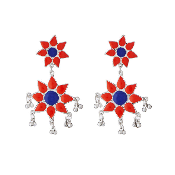 Jeweljunk Red Meenakari Rhodium Plated Afghani Earrings