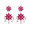 Jeweljunk Pink Meenakari Rhodium Plated Afghani Earrings