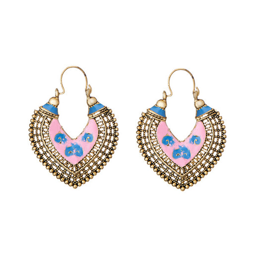 Jeweljunk Antique Gold Plated Pink Meenakari Afghani Earrings