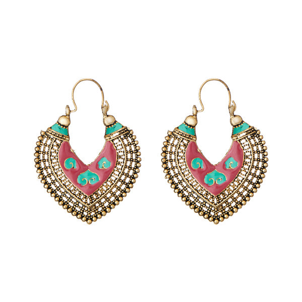 Jeweljunk Red Meenakari Antique Gold Plated Afghani Earrings