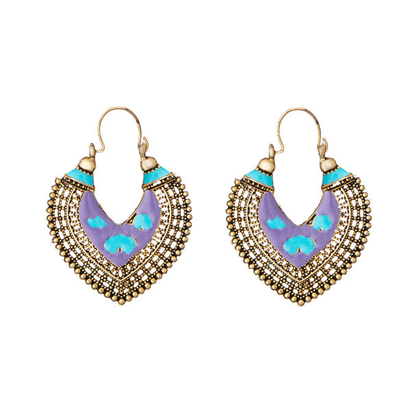 Jeweljunk Antique Gold Plated Meenakari Afghani Earrings