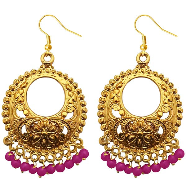 Jeweljunk Pink Beads Gold Plated Afghani Earrings