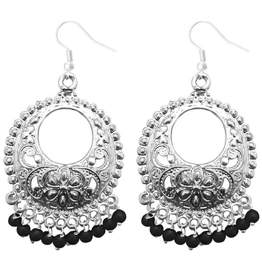 Jeweljunk Black Beads Silver Plated Afghani Earrings