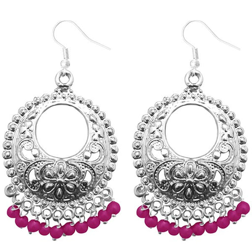 Jeweljunk Pink Beads Silver Plated Afghani Earrings