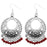 Jeweljunk Maroon Beads Silver Plated Afghani Earrings