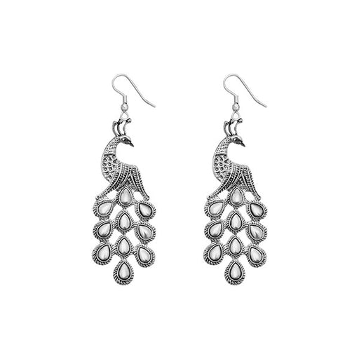Jeweljunk Rhodium Plated Peacock Design Earrings