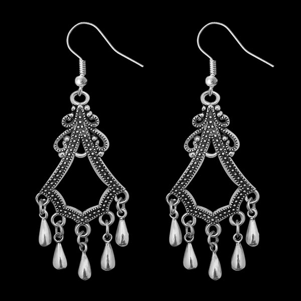 Jeweljunk Oxidised Afghani Beads Drop Dangler Earrings