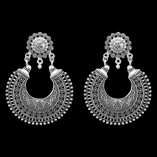 Jeweljunk Oxidised Dangler Chandbali Earrings