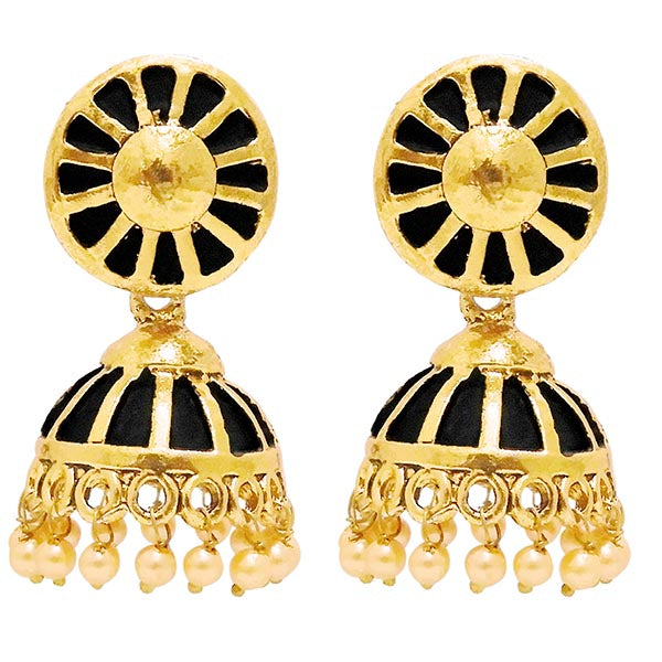 Kriaa Gold Plated Black Meenakari Jhumki Earrings