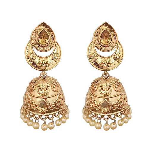 Kriaa Pearl Drop Austrian Stone  Jhumki Earrings