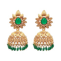Kriaa Green Beads Gold Plated Jhumki Earrings