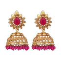 Kriaa Pink Beads Gold Plated Jhumki Earrings
