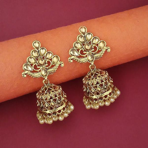 Kriaa Brown Austrian Stone Gold Plated Jhumki Earrings - 1311351