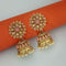 Kriaa Peach Kundan Gold Plated Jhumki Earrings - 1311352K