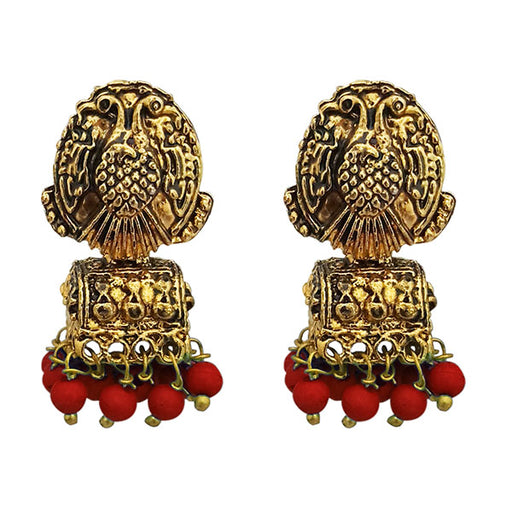 Kriaa Antique Gold Plated Maroon Beads Jhumki Earrings