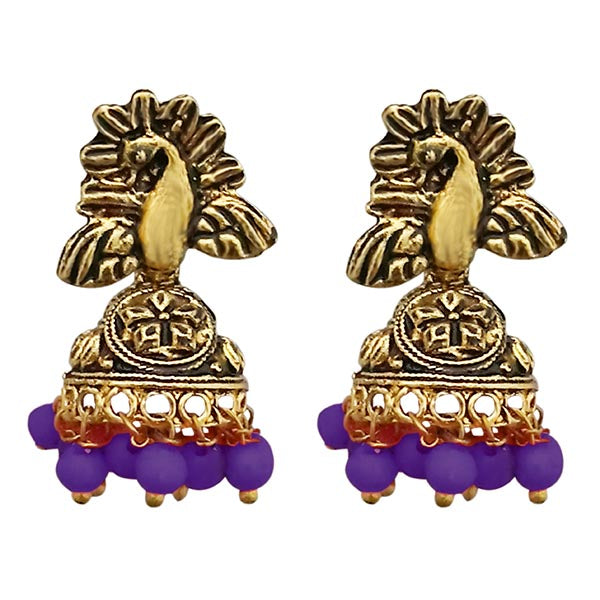 Kriaa Peacock Design Antique Gold Plated Jhumki Earrings