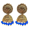 Kriaa Antique Gold Plated Blue Beads Jhumki Earrings