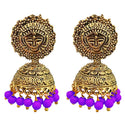 Kriaa Purple Beads Antique Gold Plated Jhumki Earrings