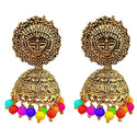 Kriaa Multi Beads Antique Gold Plated Jhumki Earrings