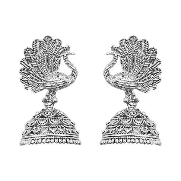 Kriaa silver peacock jhumki earrings