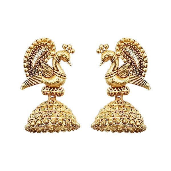 Kriaa Gold Peacock Jhumki Earrings