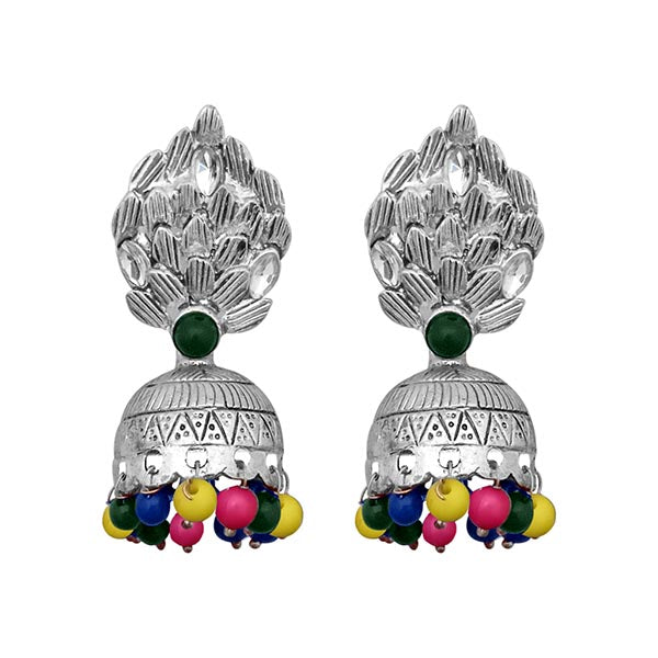 Kriaa  Silver Multi Beads Jhumki Earrings