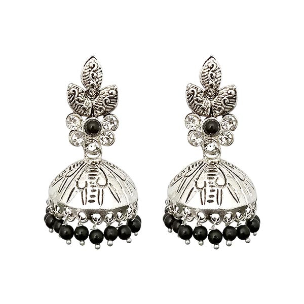 Kriaa Silver  Black Beads jhumki Earrings