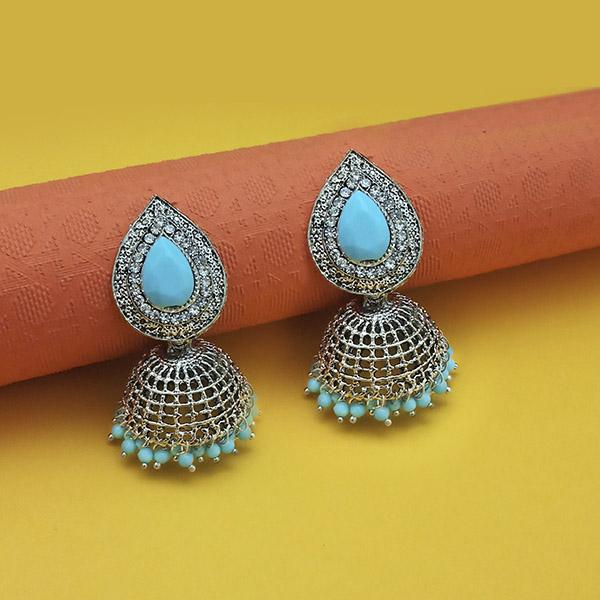 Kriaa Blue Beads Rhodium Plated Jhumki