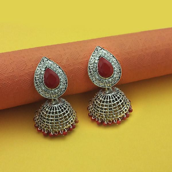 Kriaa Maroon Beads Rhodium Plated Jhumki
