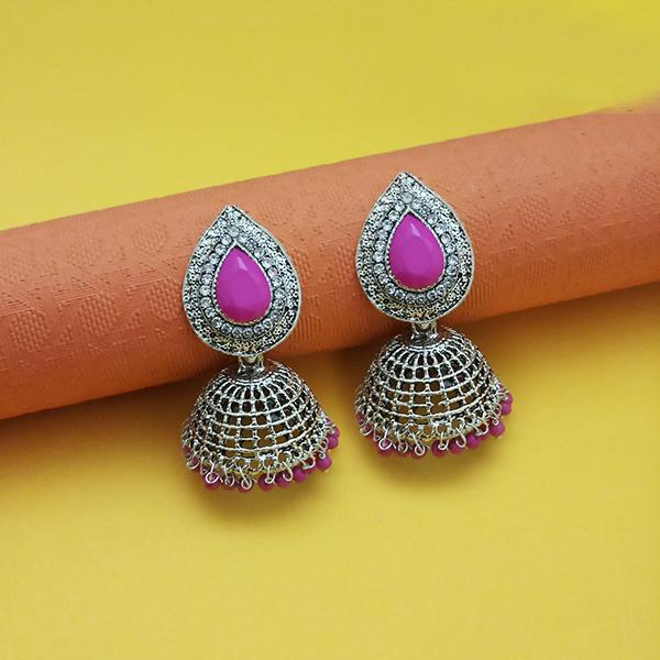 Kriaa Pink Beads Rhodium Plated Jhumki
