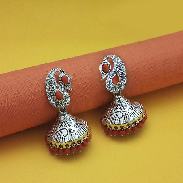 Kriaa Rhodium Plated Maroon Beads Jhumki