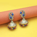 Kriaa Rhodium Plated Multicolor Beads Jhumki