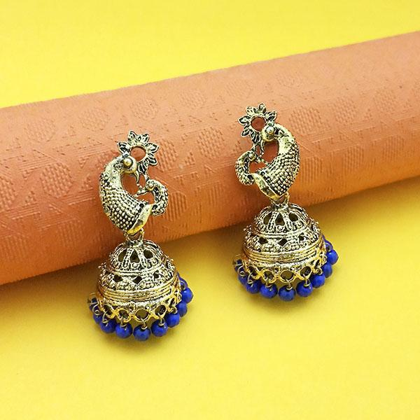 Kriaa Blue Beads Antique Gold Plated Jhumki