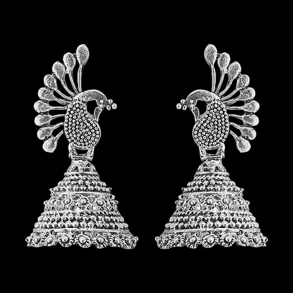 Jeweljunk Silver Plated Peacock Jhumki Earrings