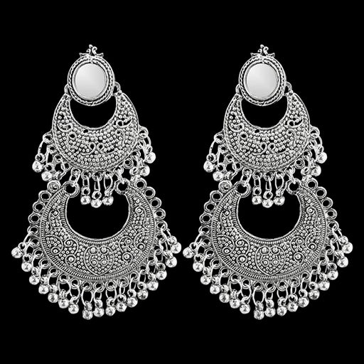 Jeweljunk Silver Plated Afghani Mirror Earrings