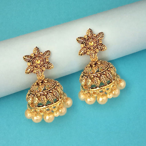 Kriaa Gold Plated Brown Stone Jhumki Earrings